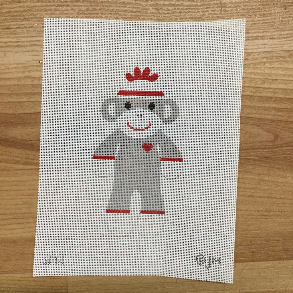 Original Sock Monkey Canvas-Needlepoint Canvas-J Malahy-KC Needlepoint