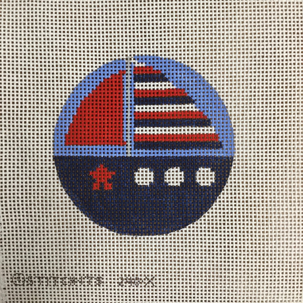 Sailboat Round Canvas-Needlepoint Canvas-Stitch-Its-KC Needlepoint