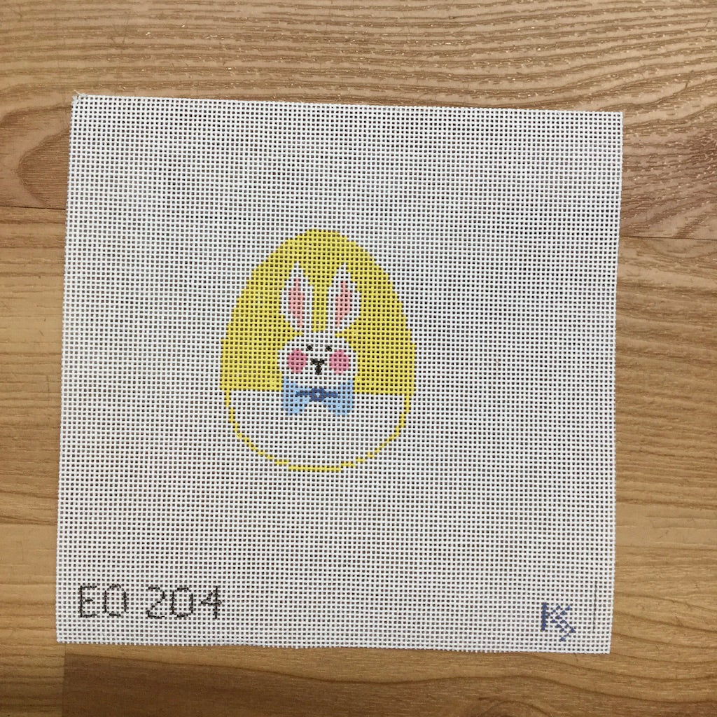 Bunny on Yellow Egg Canvas-Needlepoint Canvas-Kathy Schenkel-KC Needlepoint