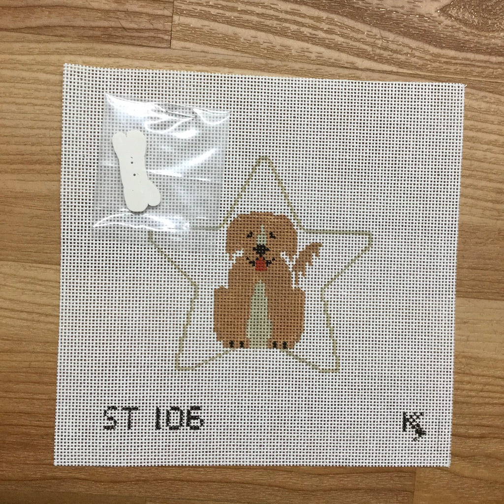 Golden Retriever Star Canvas - needlepoint