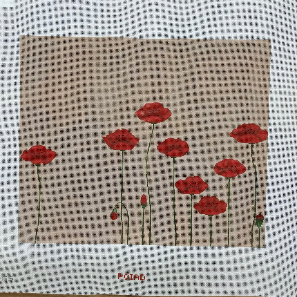 Field of Poppies Needlepoint Canvas - KC Needlepoint