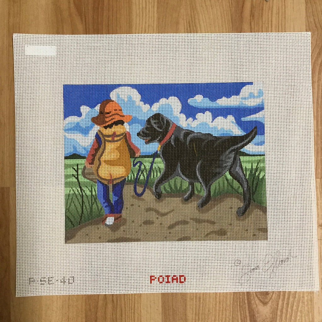 Boy in Field with Lab Canvas - needlepoint
