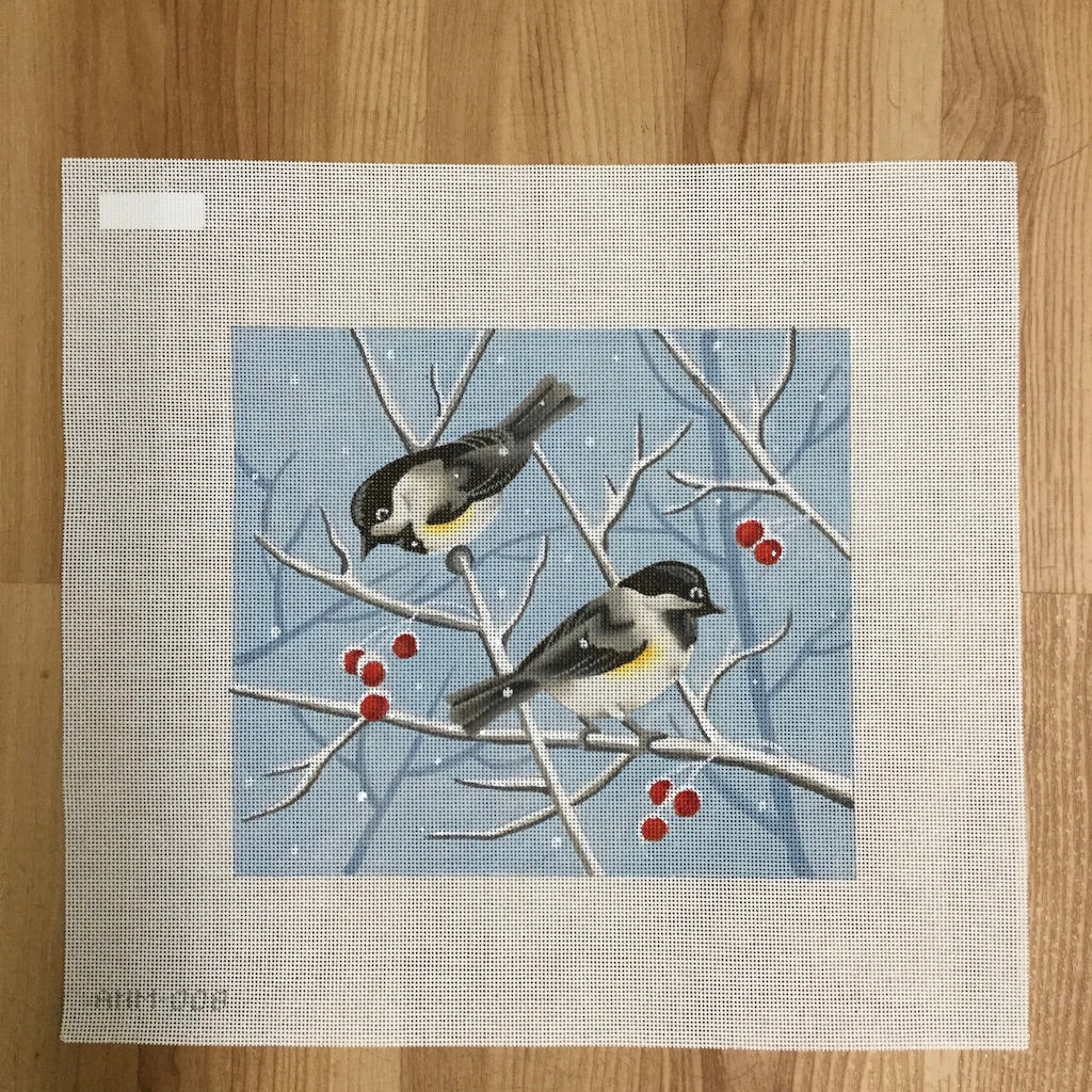 Chickadees Needlepoint Canvas - KC Needlepoint