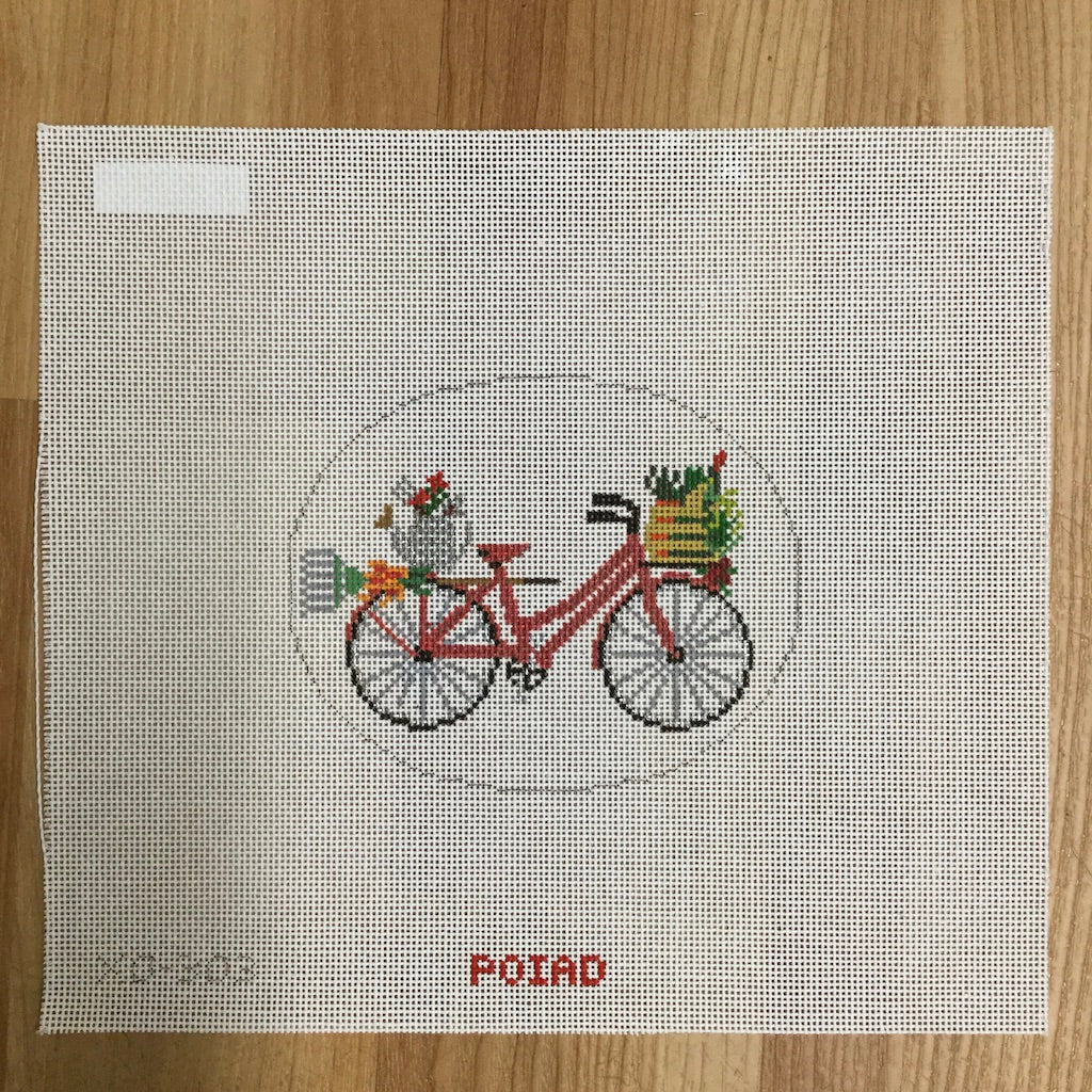 Garden Bicycle Canvas - needlepoint