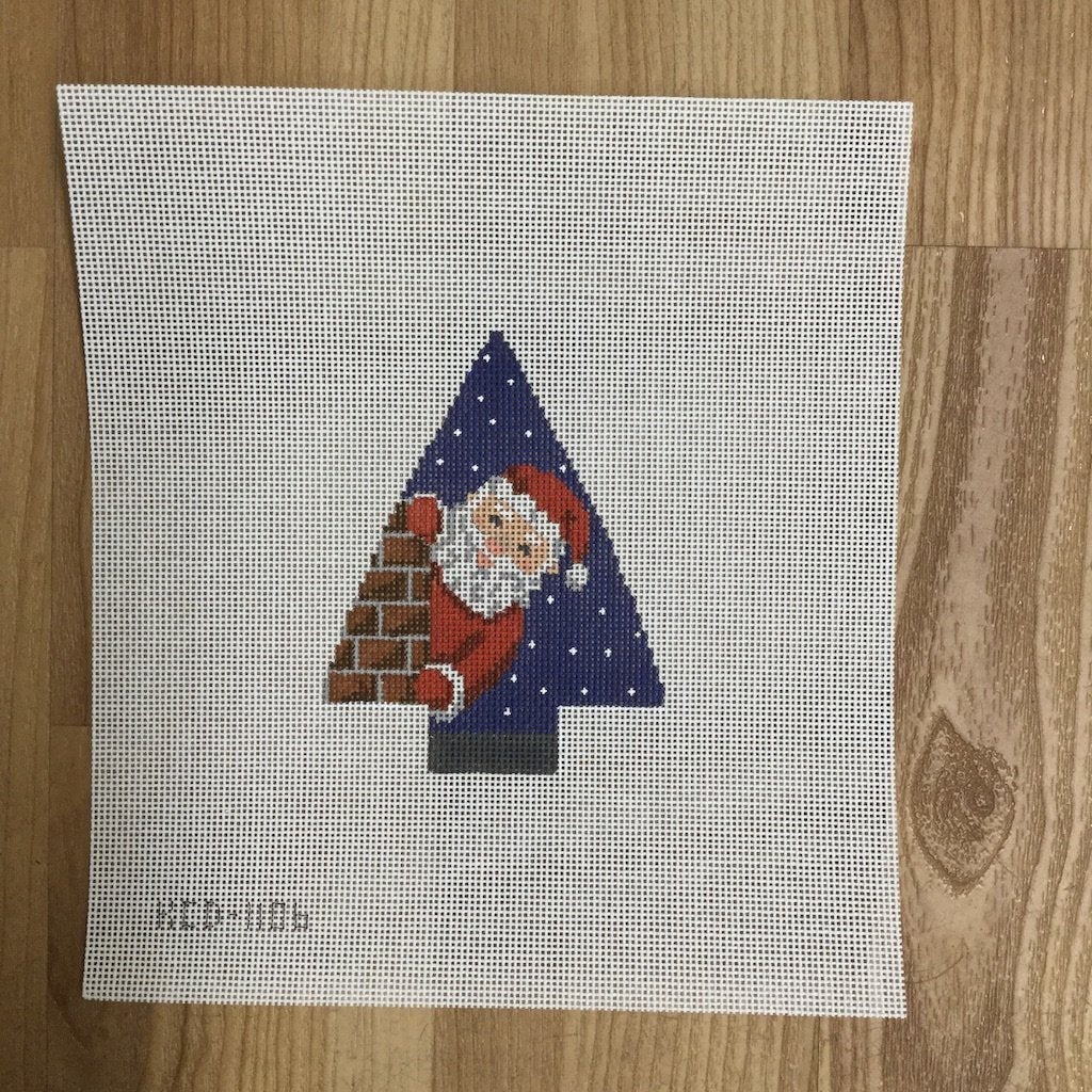 Santa in the Chimney Ornament-KCN Designers-KC Needlepoint