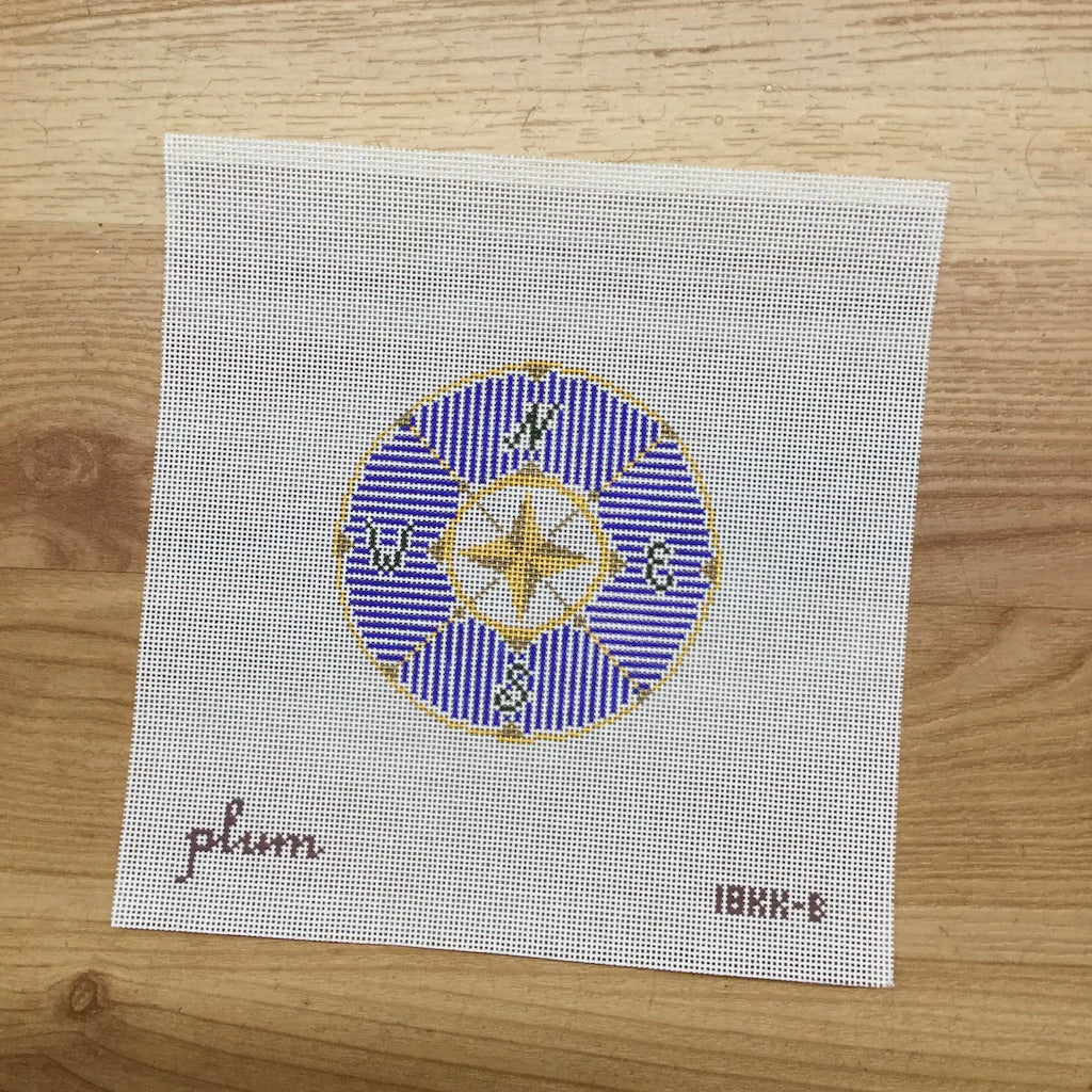 Compass in Blue Round Canvas - needlepoint