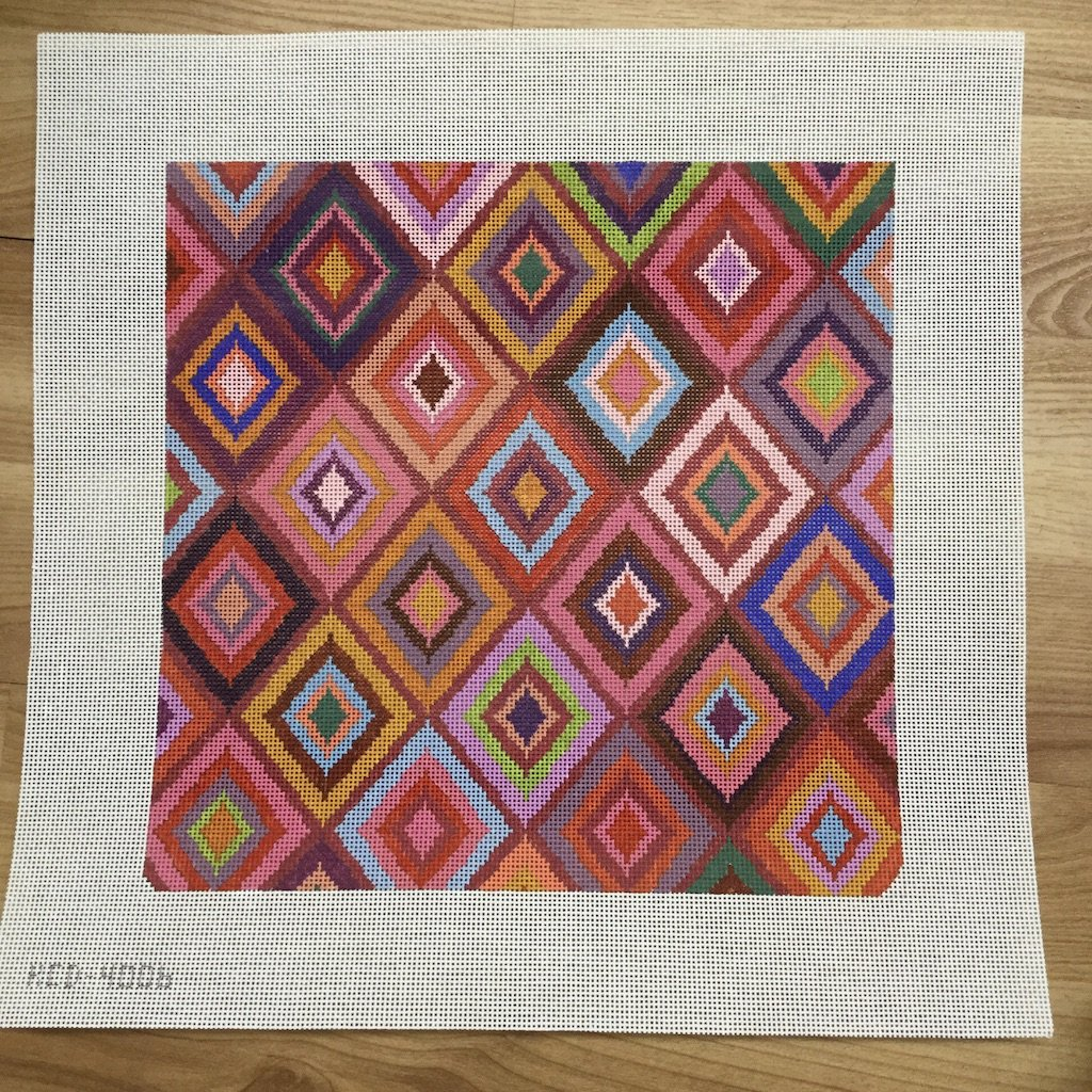 Multicolored Diamond Pattern - needlepoint
