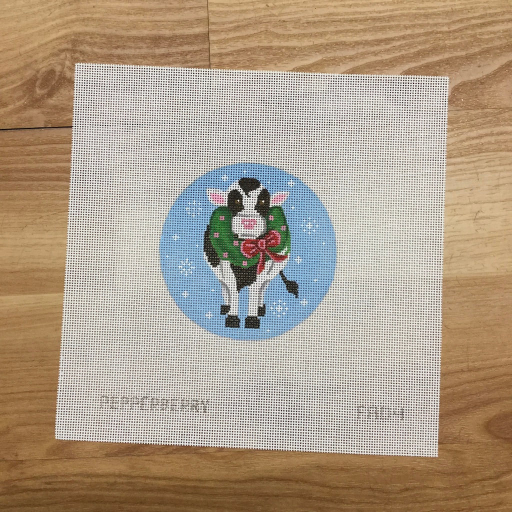 Cow with a Wreath Ornament Canvas-Needlepoint Canvas-Pepperberry Designs-KC Needlepoint
