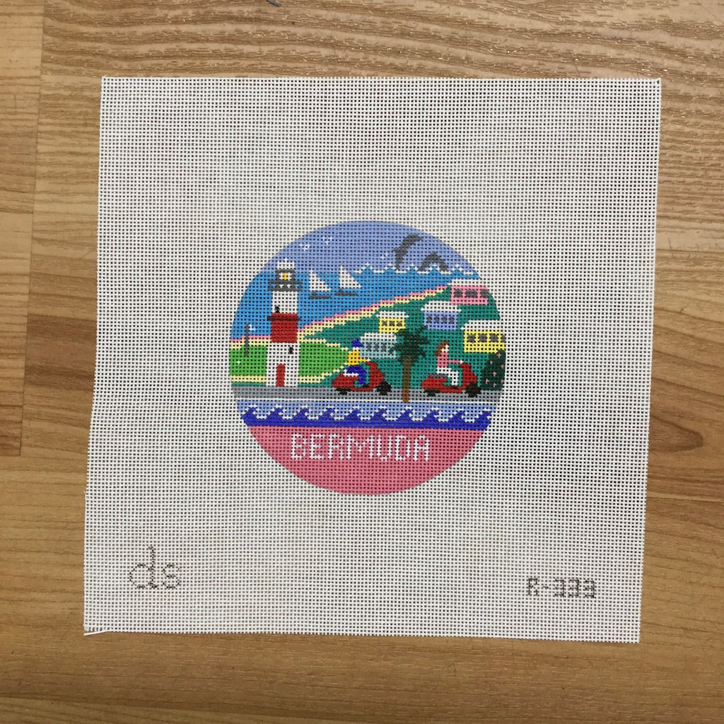 Bermuda Travel Round Needlepoint Canvas-Needlepoint Canvas-Doolittle Stitchery-KC Needlepoint