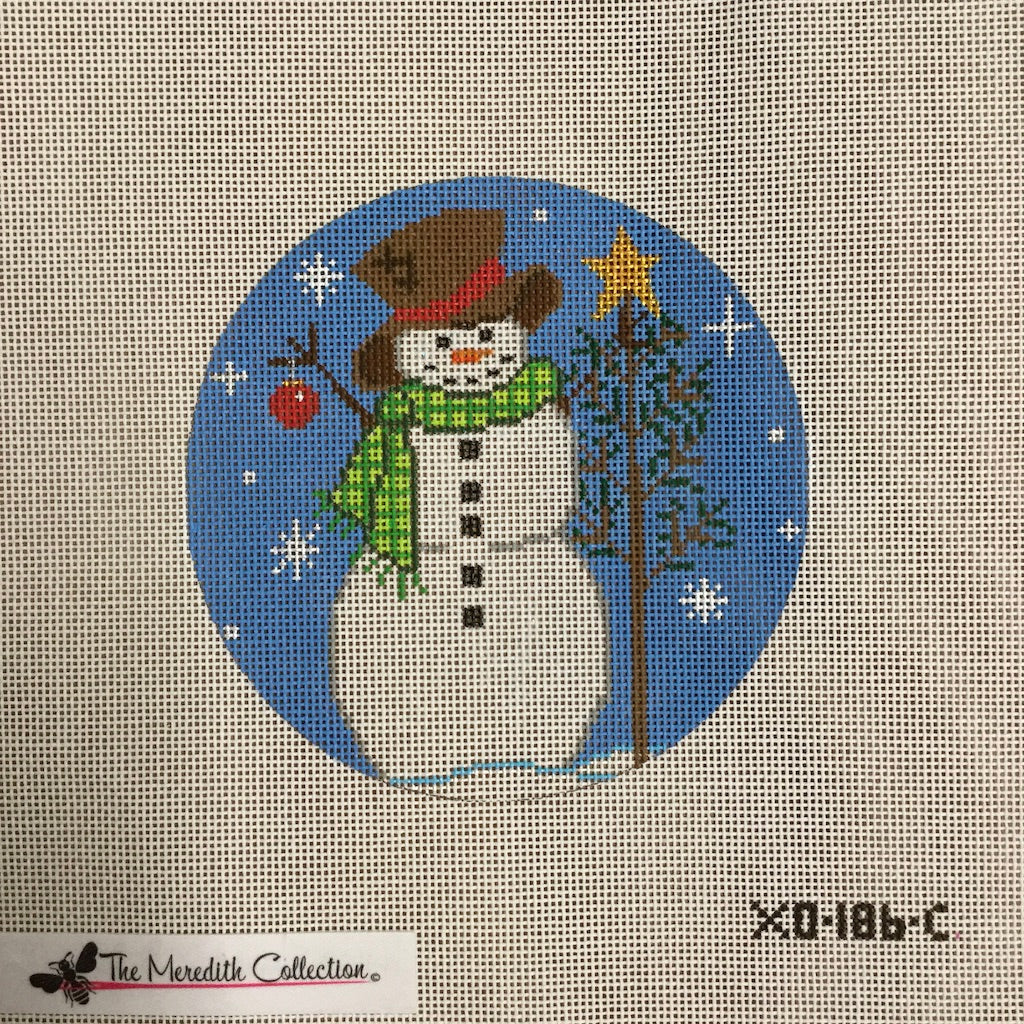 Snowman with Tree Canvas