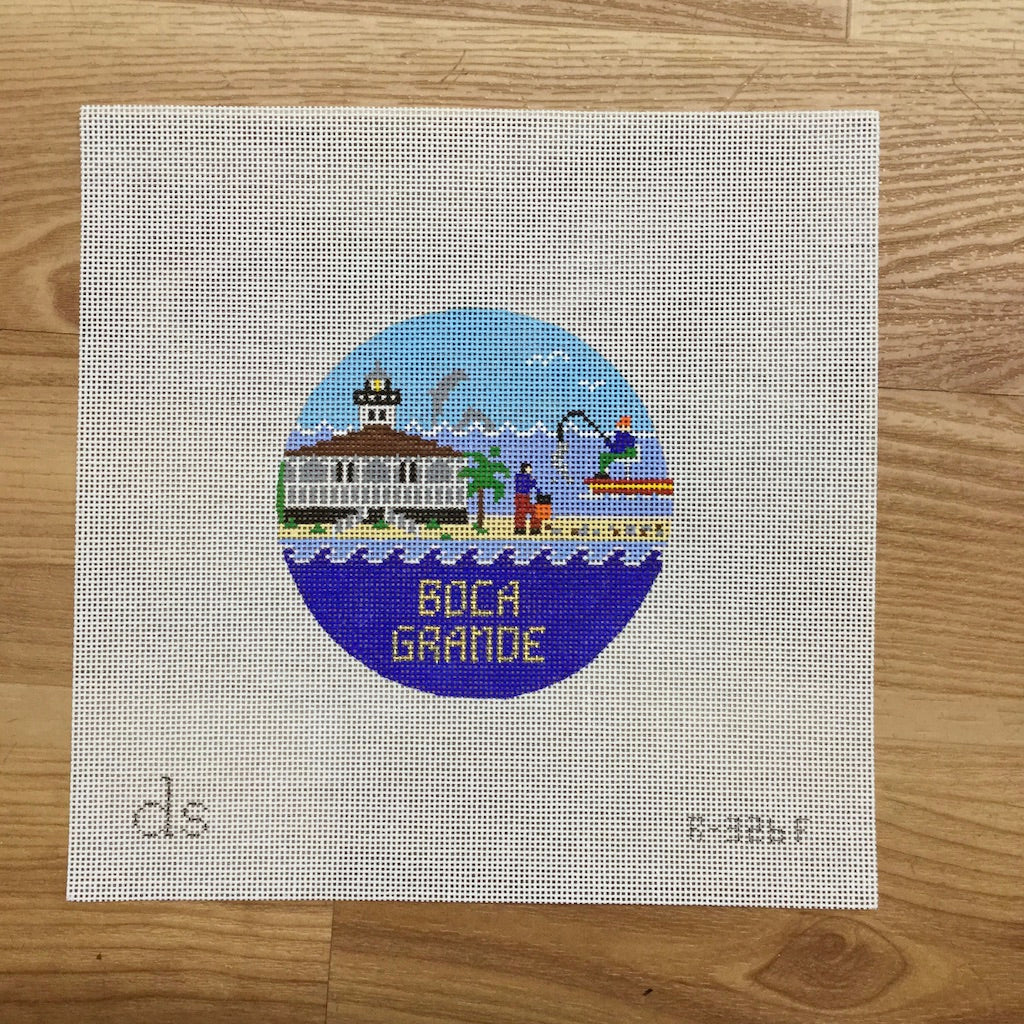 Boca Grande Travel Round Needlepoint Canvas-Needlepoint Canvas-Doolittle Stitchery-KC Needlepoint