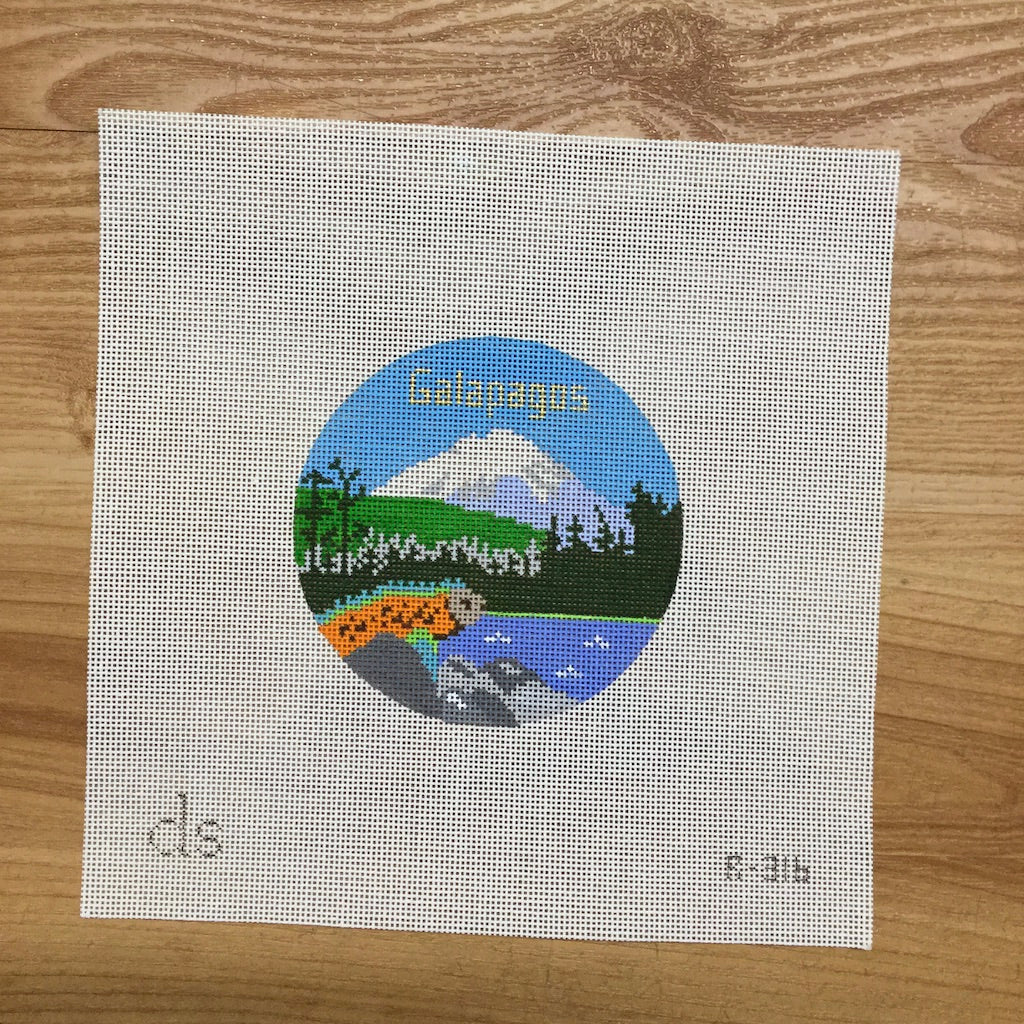 Galapagos Travel Round Canvas-Needlepoint Canvas-Doolittle Stitchery-KC Needlepoint