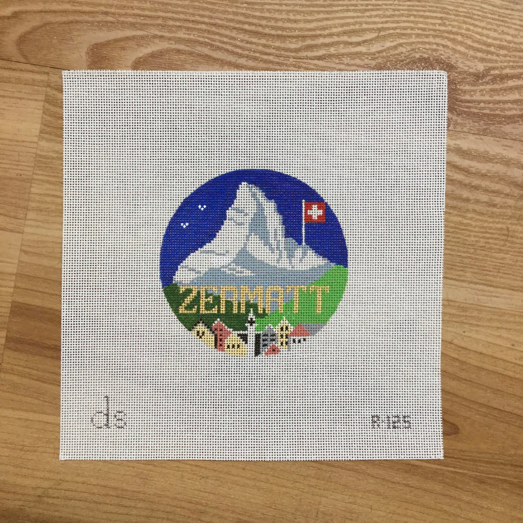 Zermatt Travel Round Canvas-Needlepoint Canvas-Doolittle Stitchery-KC Needlepoint