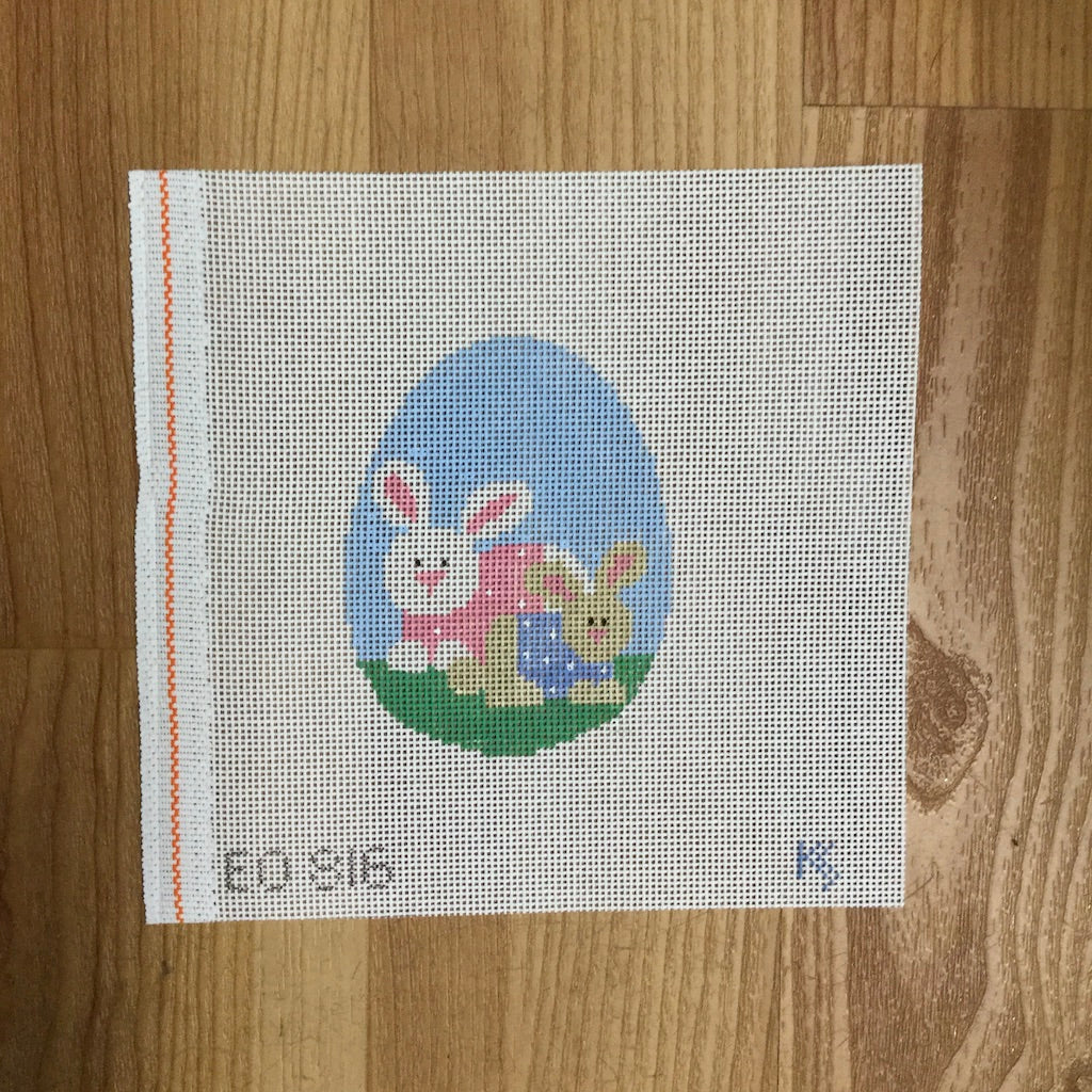 Mother & Baby Bunny Egg Canvas-Needlepoint Canvas-Kathy Schenkel-KC Needlepoint
