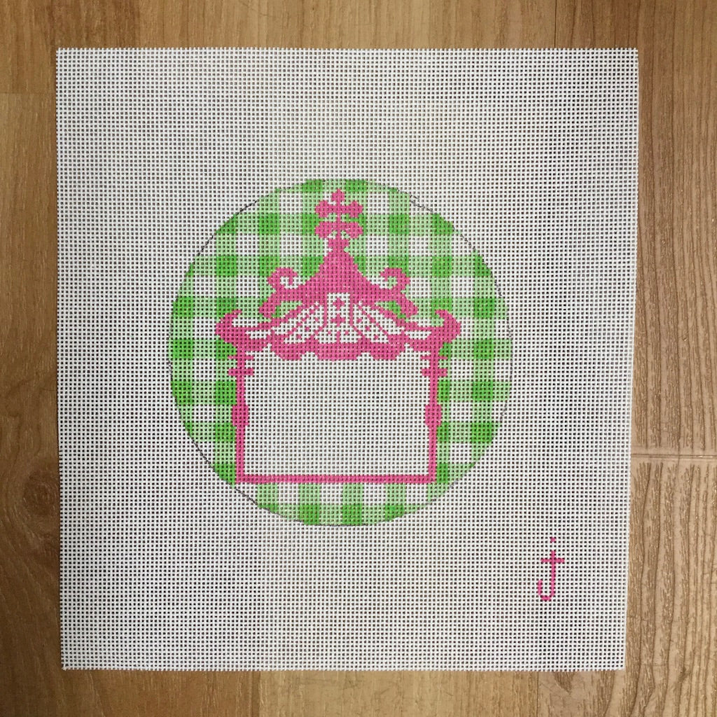 Pink & Green Pagoda Canvas - needlepoint