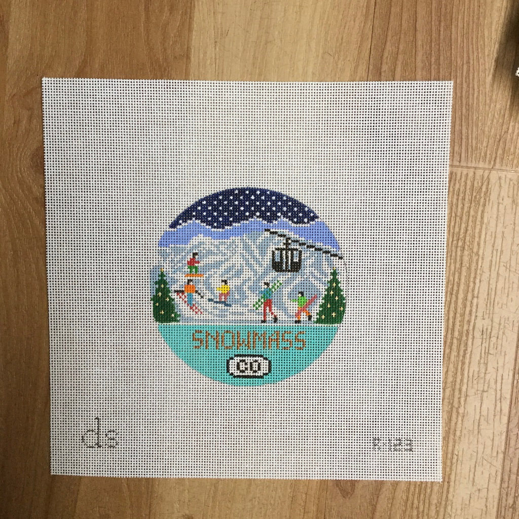 Snowmass Travel Round Needlepoint Canvas
