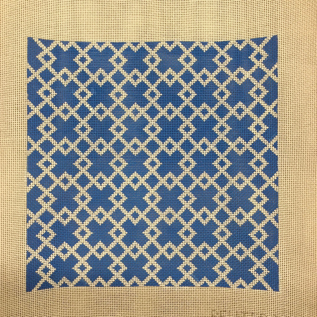 Blue and White Geometric Canvas-Pewter & Pine-KC Needlepoint