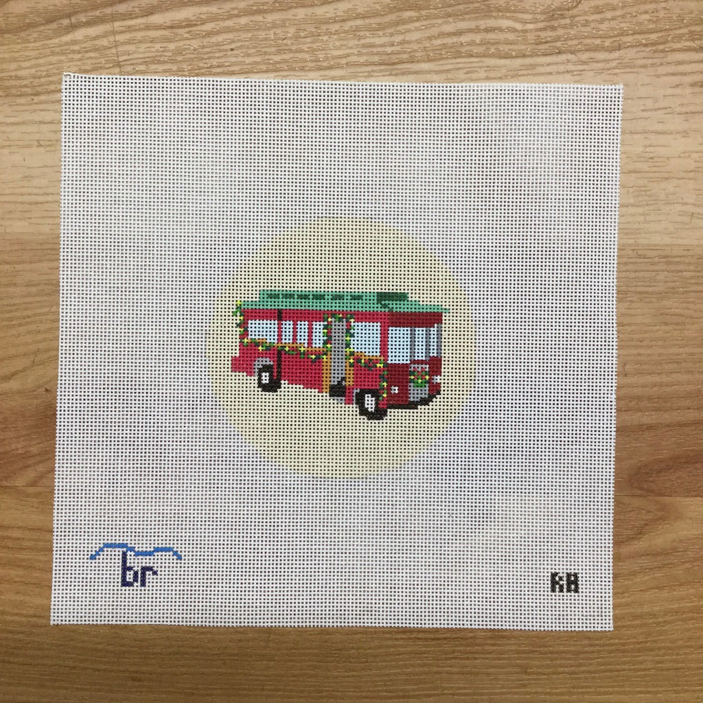Christmas Trolley Needlepoint Round-Needlepoint Canvas-Blue Ridge Stitchery-KC Needlepoint