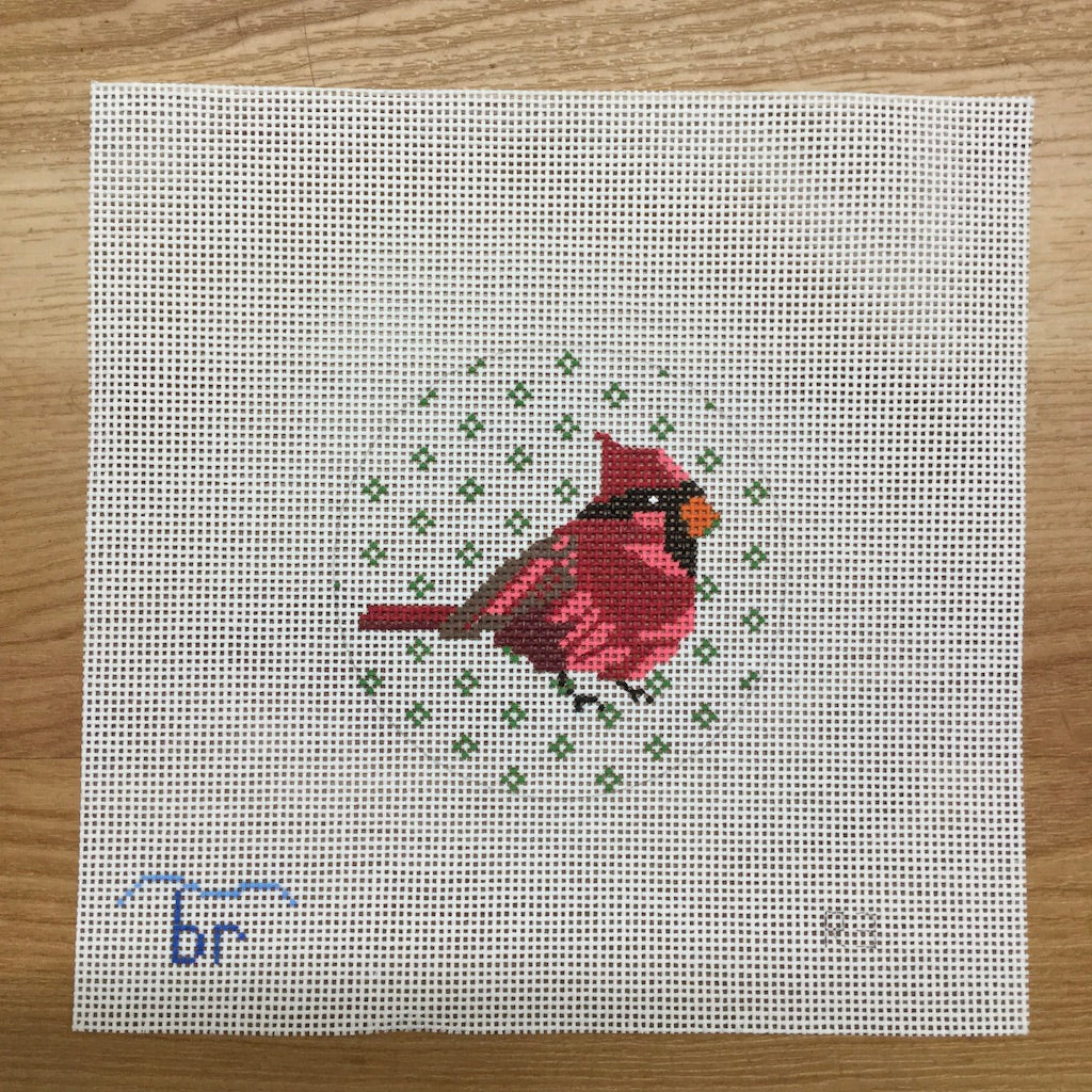 Cardinal Needlepoint Round-Needlepoint Canvas-Blue Ridge Stitchery-KC Needlepoint