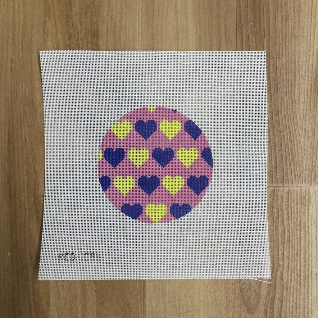 Blue and Yellow Hearts Valentine Round - needlepoint