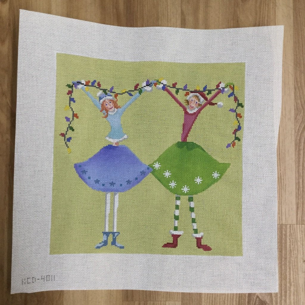 Girlfriends Christmas Pillow-Needlepoint Canvas-KCN Designers-KC Needlepoint