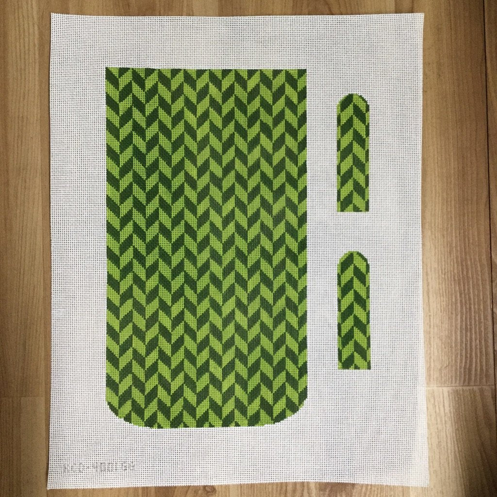 Marianne Clutch - Herringbone-Needlepoint Canvas-KCN Designers-Green/Green-KC Needlepoint