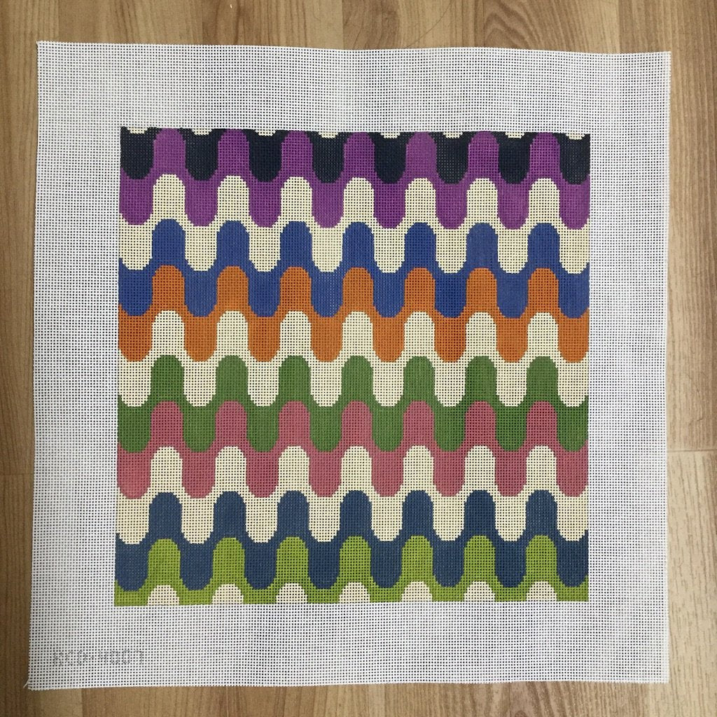Wave Pillow - needlepoint