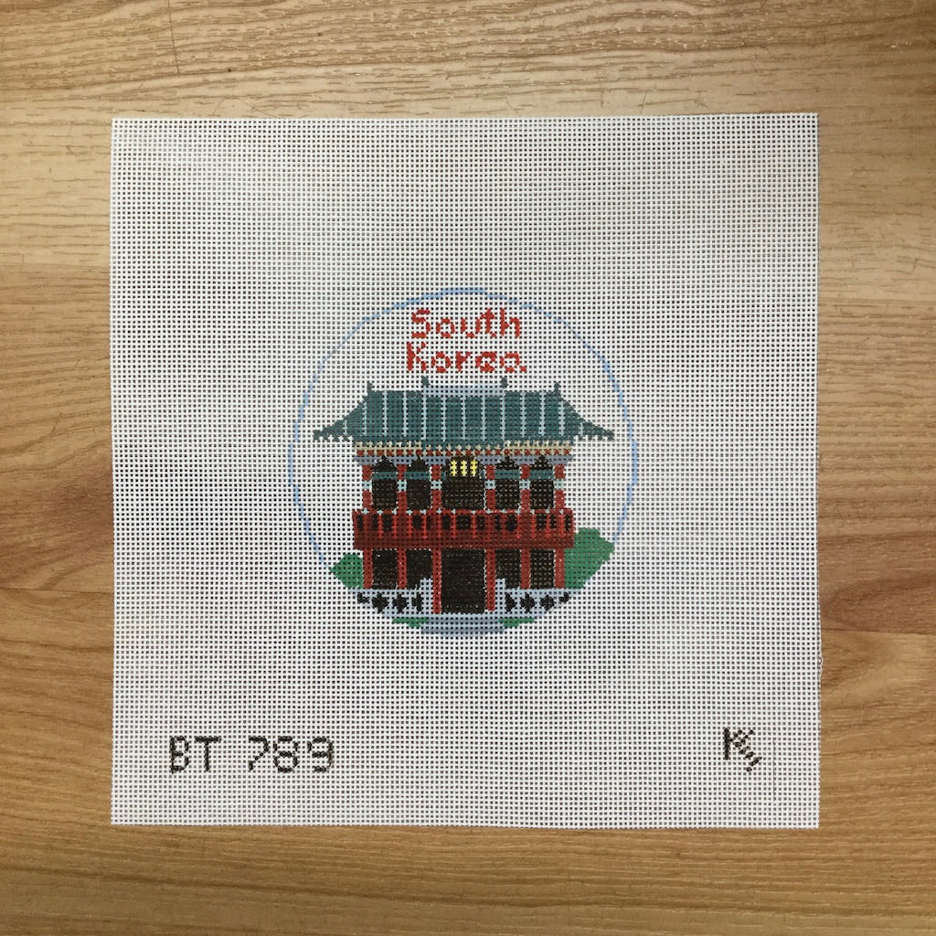 South Korea Travel Round Canvas-Needlepoint Canvas-Kathy Schenkel-KC Needlepoint