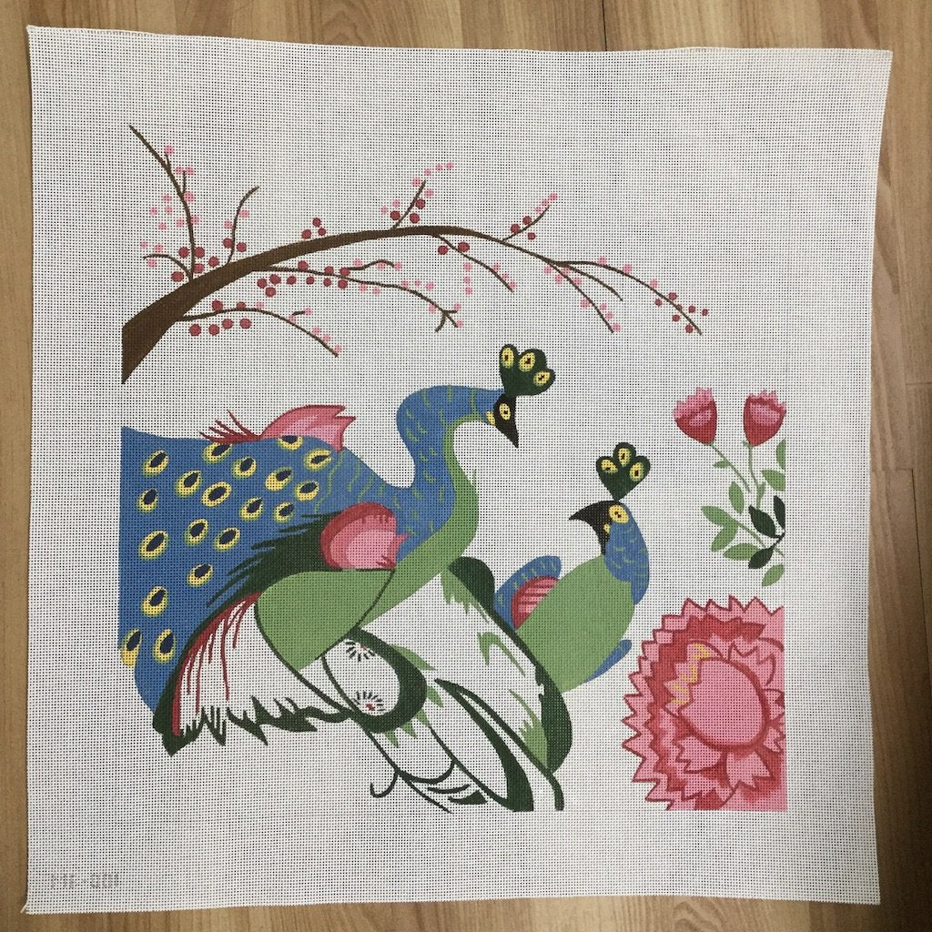 Peacocks in Love - needlepoint