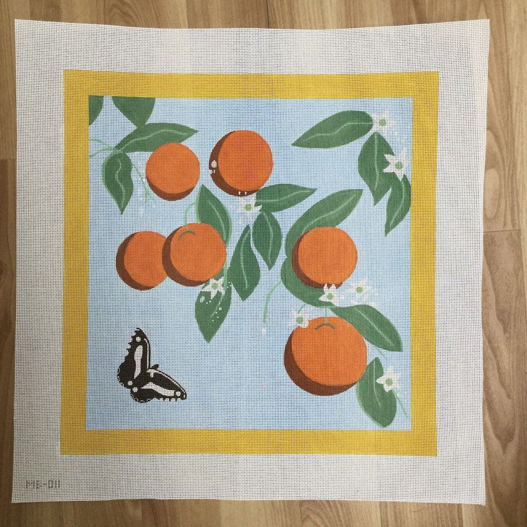 Orange Blosson-Needlepoint Canvas-KCN Designers-KC Needlepoint