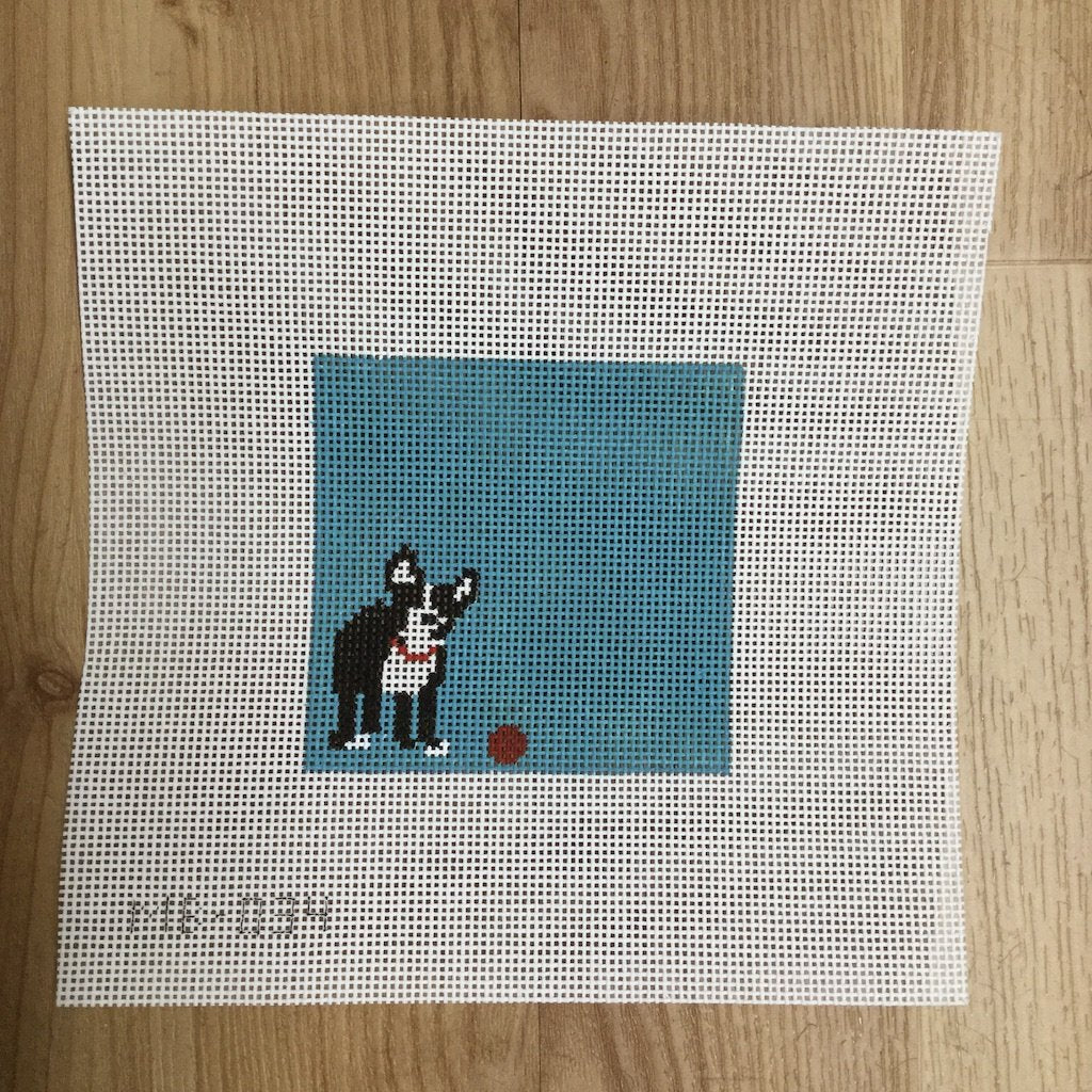 Boston Terrier Ball-Needlepoint Canvas-KCN Designers-KC Needlepoint