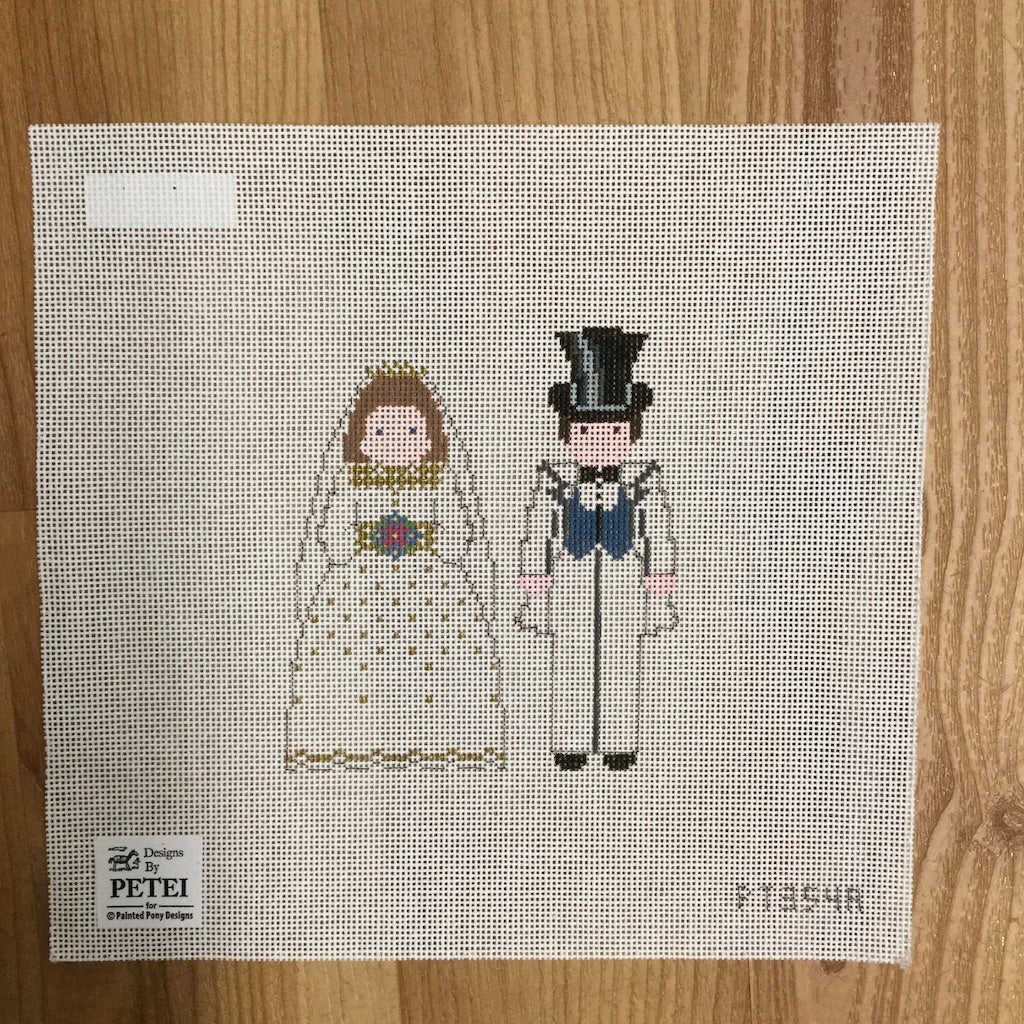 Bride and Groom Canvas-Painted Pony-KC Needlepoint