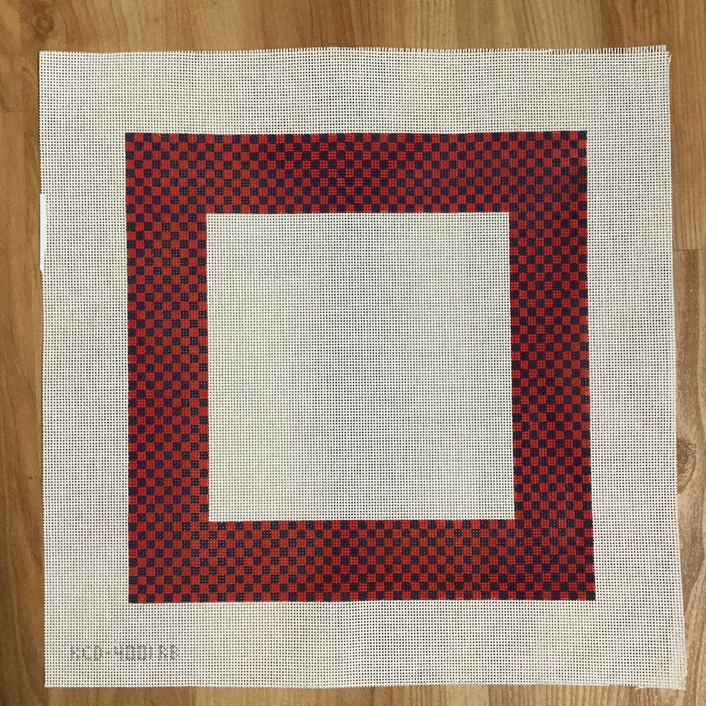 Check Border Pillow Canvas-Needlepoint Canvas-KCN Designers-red/blue-KC Needlepoint