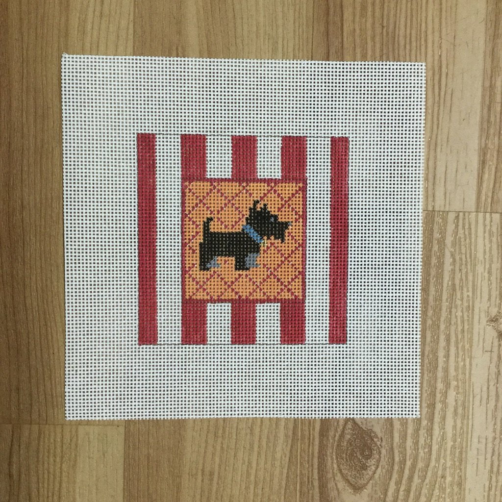 Black Scottie Striped Square-Needlepoint Canvas-KCN Designers-KC Needlepoint