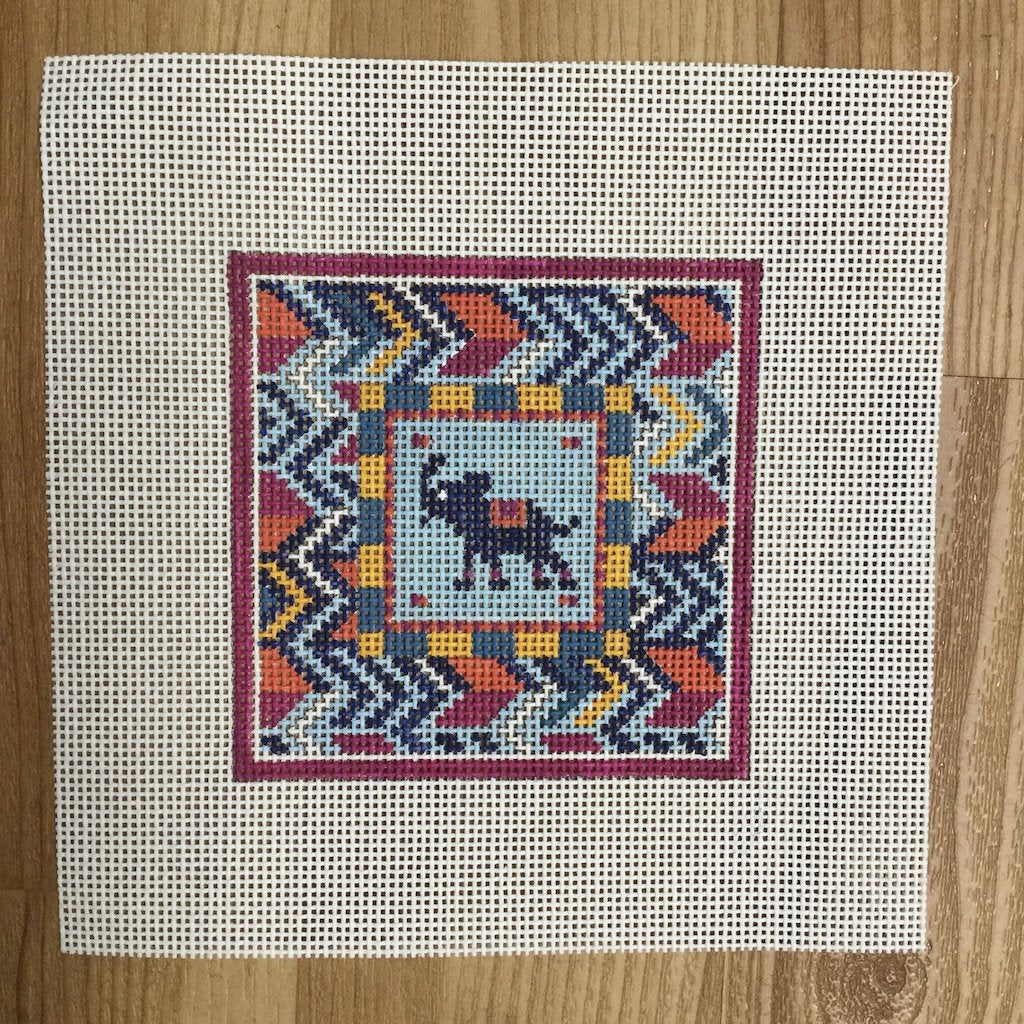 Elephant Square-Needlepoint Canvas-KCN Designers-KC Needlepoint