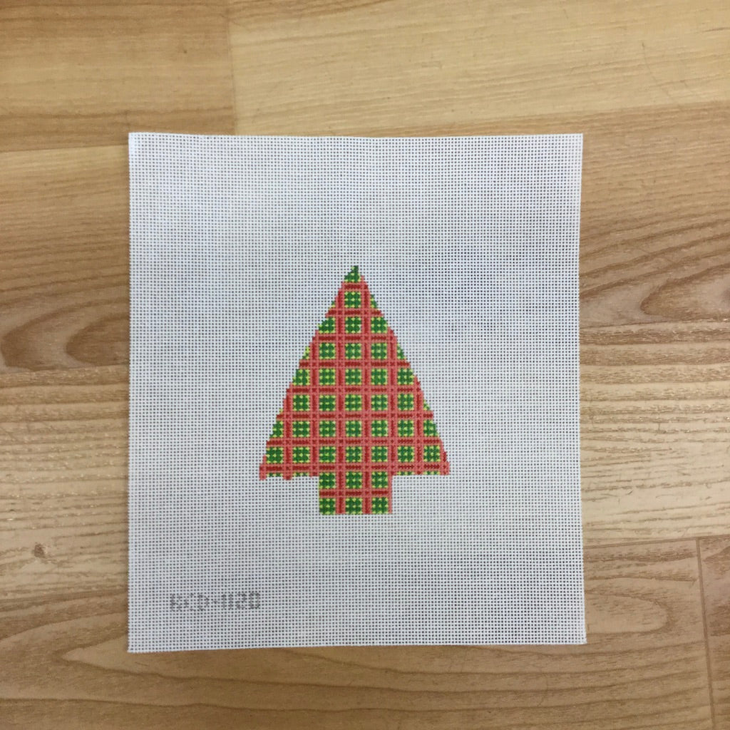 Tree with Pink and Green Squares - needlepoint