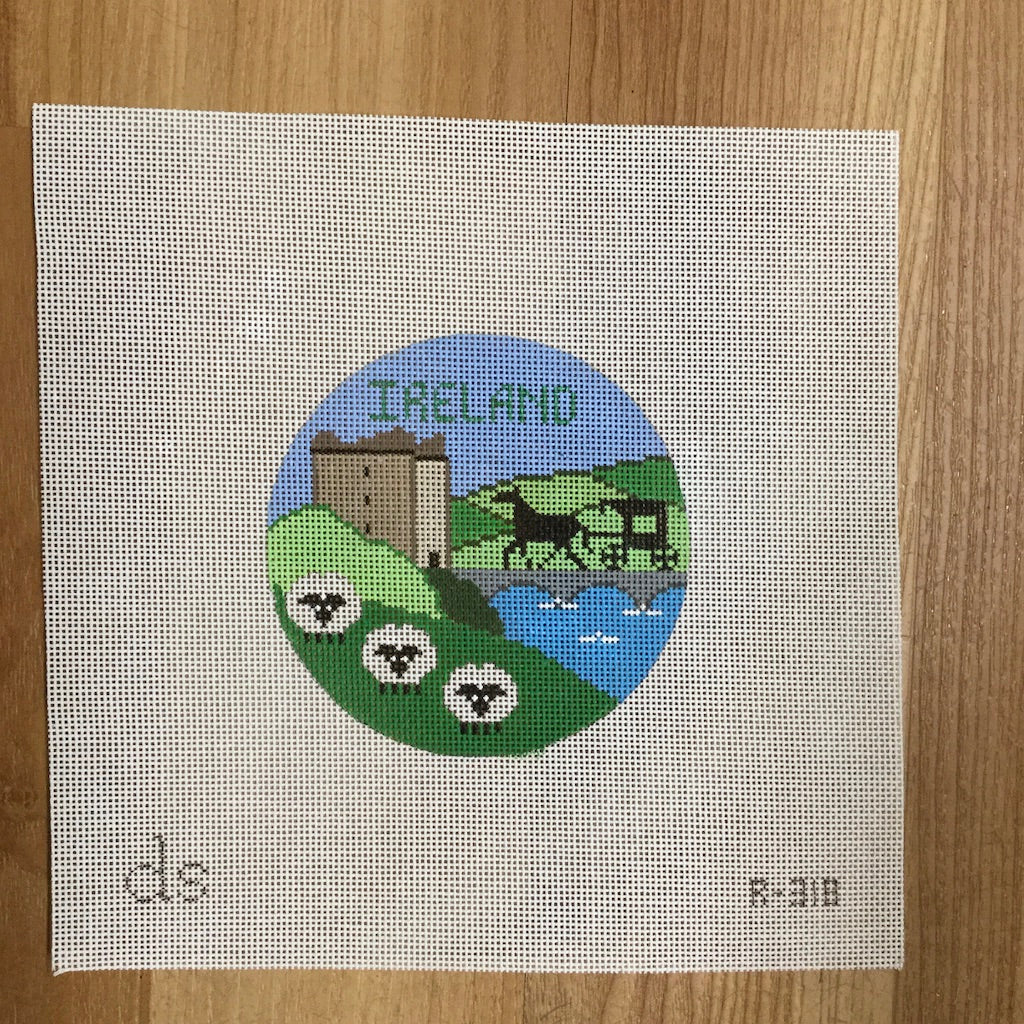 Ireland Travel Round Needlepoint Canvas-Needlepoint Canvas-Doolittle Stitchery-KC Needlepoint