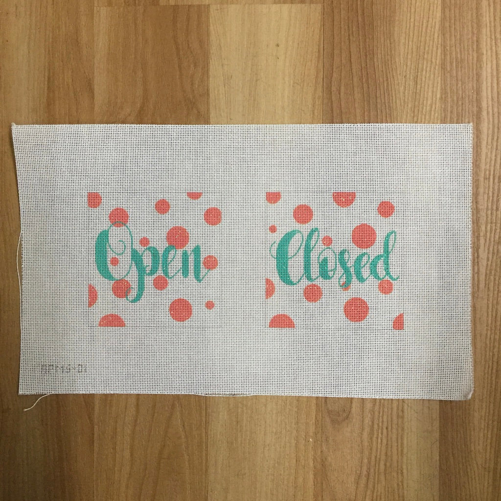 Open Closed with Dots Canvas - needlepoint