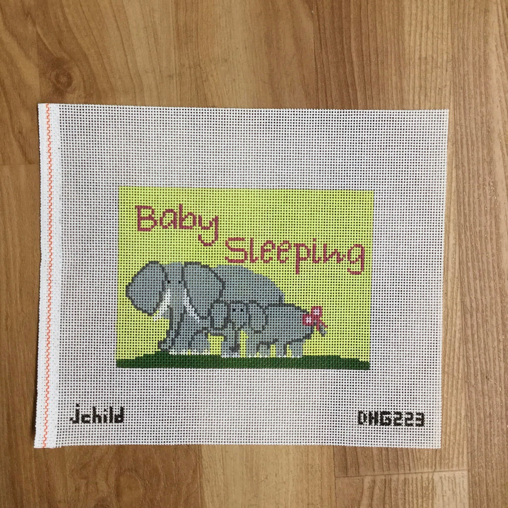 Elephants Baby Sleeping Canvas-Needlepoint Canvas-J. Child Designs-KC Needlepoint