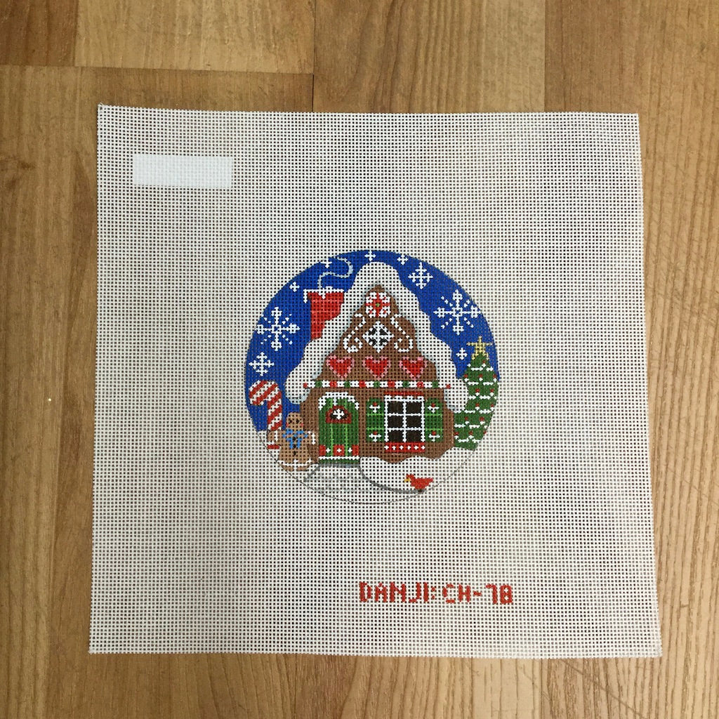 Gingerbread House Ornament Canvas - needlepoint