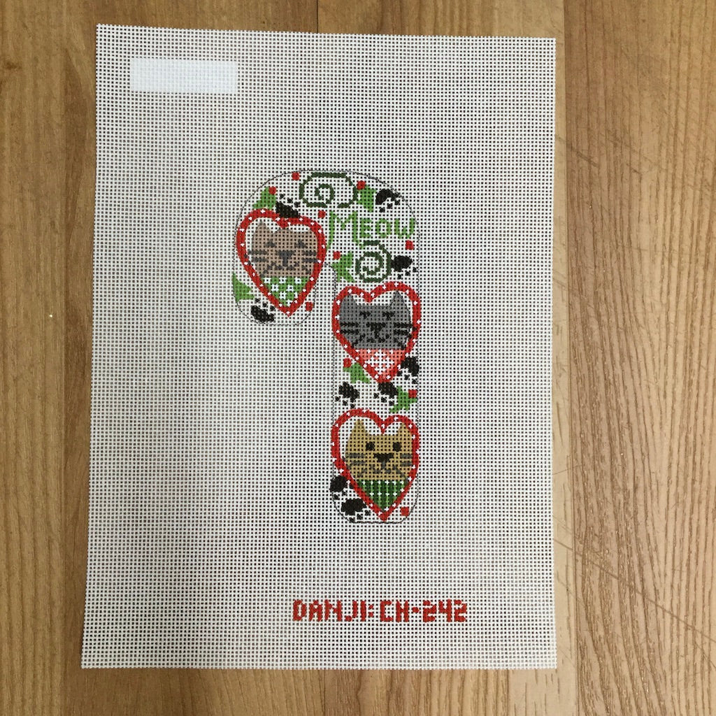 Cat Heart Candy Cane Canvas - KC Needlepoint