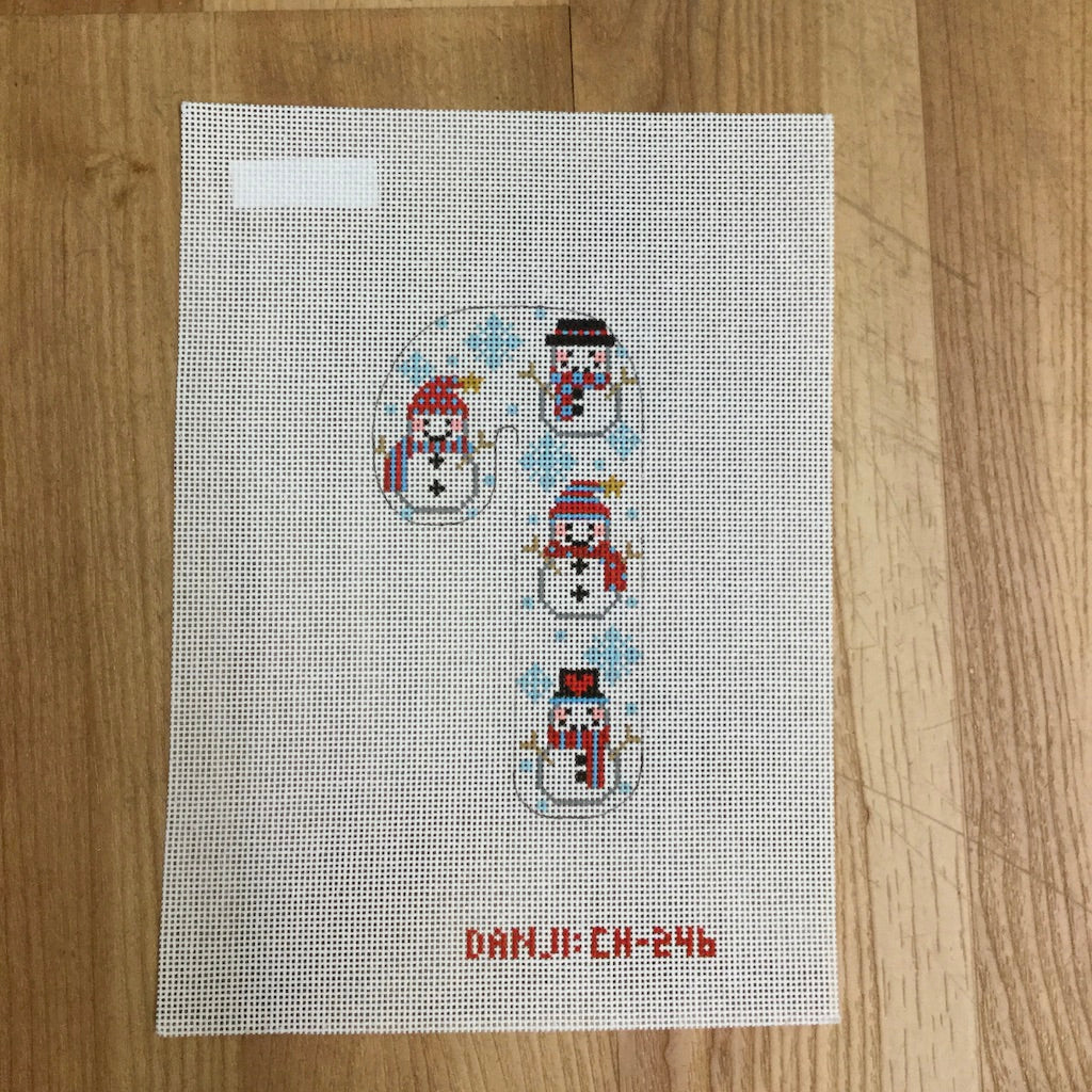 Snowmen Candy Cane Canvas-Needlepoint Canvas-Danji Designs-KC Needlepoint