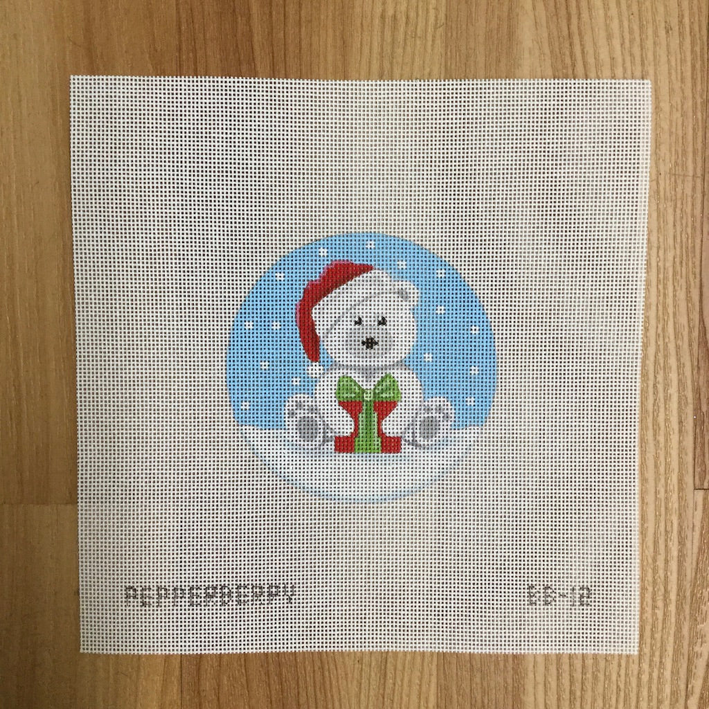White Santa Bear with Present Canvas-Needlepoint Canvas-Pepperberry Designs-KC Needlepoint