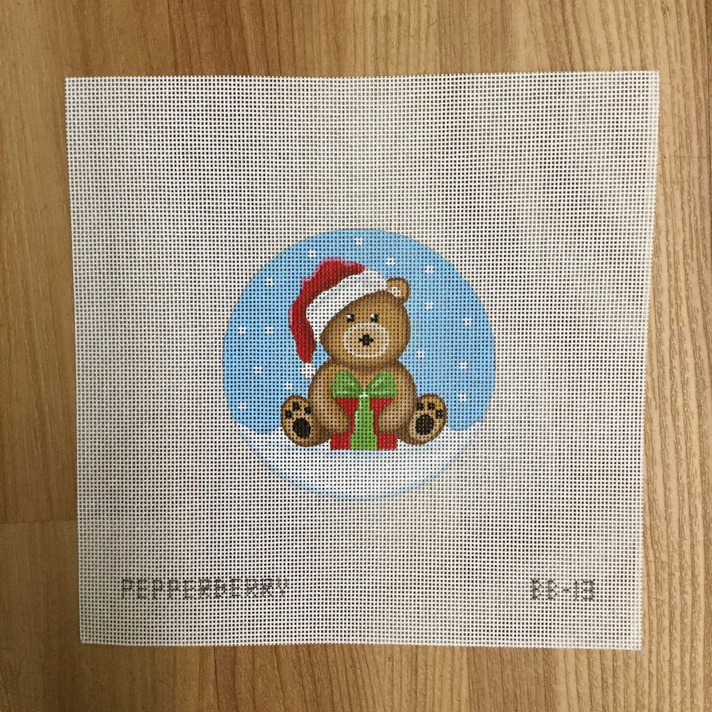 Brown Santa Bear with Present Canvas - needlepoint