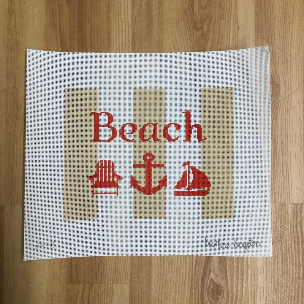 Tan and White Beach Canvas - needlepoint