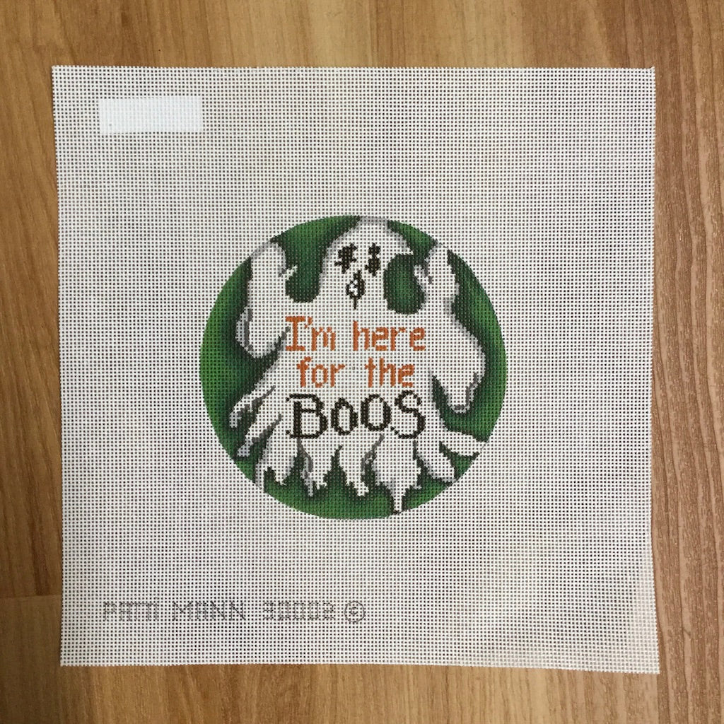I'm Here for the Boos Round Canvas - needlepoint