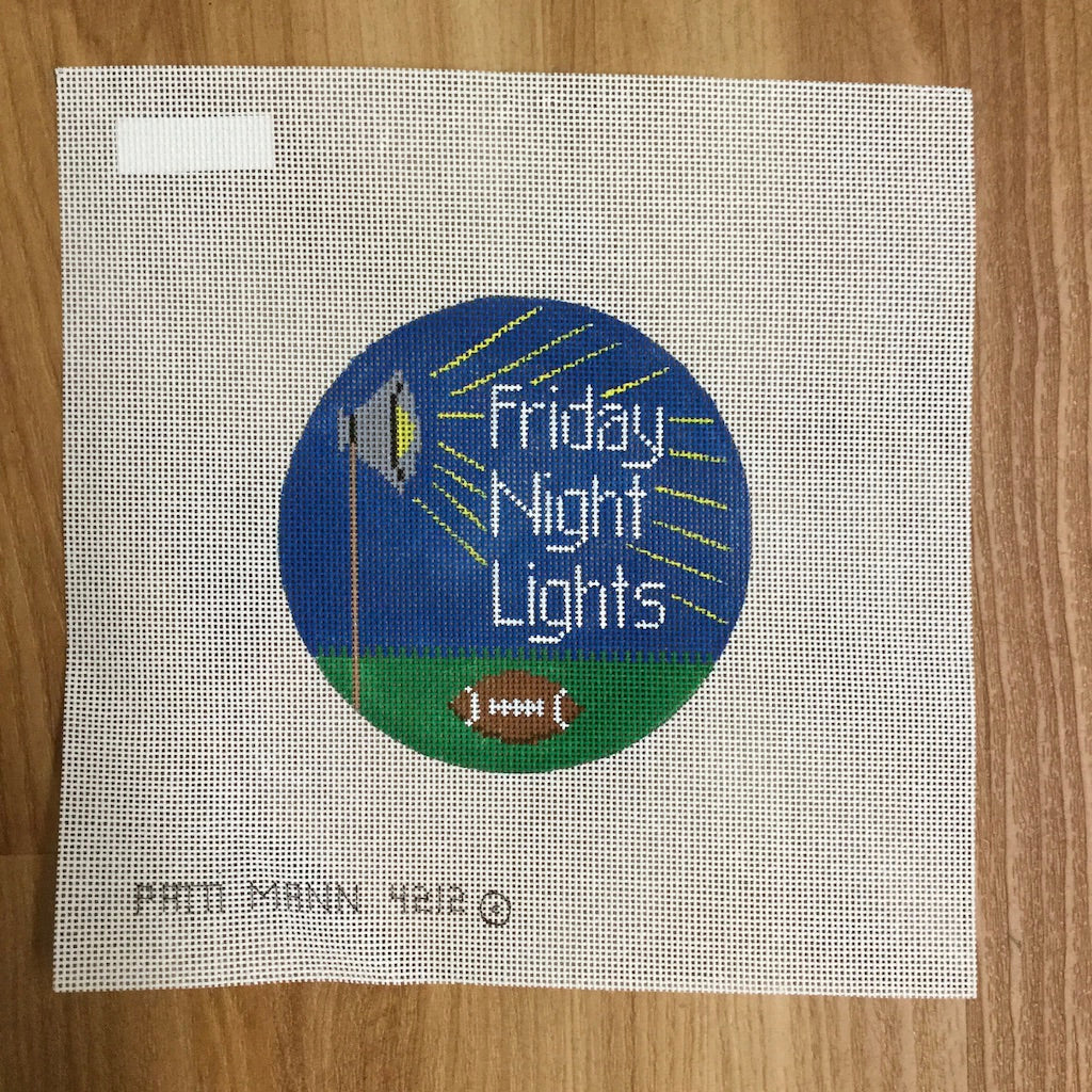 Friday Night Lights Round Canvas-Needlepoint Canvas-Patti Mann-KC Needlepoint