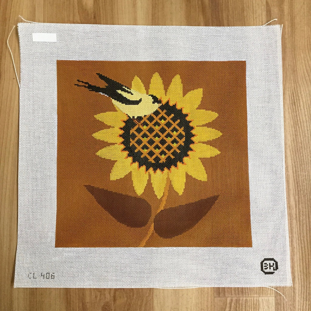 Goldfinch Sunflower Needlepoint Canvas - KC Needlepoint
