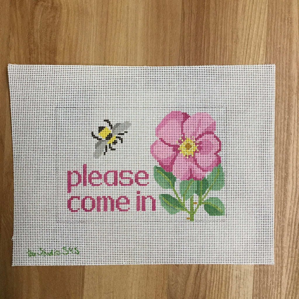 Please Come In Bee and Flower Canvas-Needlepoint Canvas-Studio Midwest-KC Needlepoint