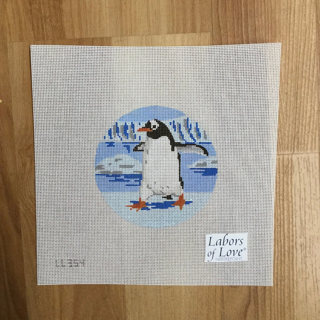 Frolicking Penguin Canvas - needlepoint